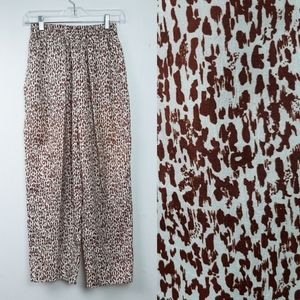 Vintage 100% Linen Silky Trouser Elastic Pattern M